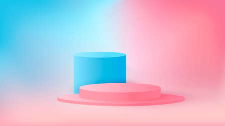 Round podium, pedestal or platform, background for the presentation of cosmetic products. Place for ads. Empty food stand background in pastel colors. Ilustracja
