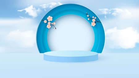 Minimal scene with geometric shapes. Cylindrical podium in light blue with paper spring flowers. Scene for the demonstration of a cosmetic product, showcase. Vector