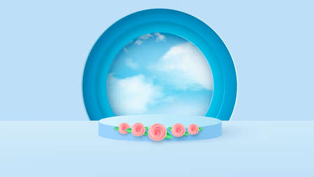 Minimal scene with geometric shapes. Cylindrical podium in light blue with spring flowers. Scene for the demonstration of a cosmetic product, showcase. Vector Ilustracja