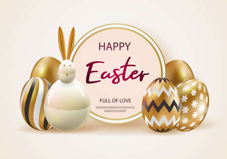 Happy easter. Festive background design with realistic colorful eggs, easter bunny. Gold glitter confetti. Festive web banner.Vector