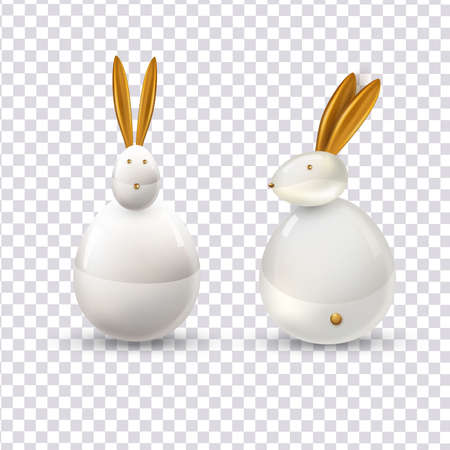 Vector white ceramic Easter bunny. Decorative realistic object for Easter Day. Ilustracja