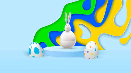 Happy easter. Design Rabbit with eggs. Festive spring 3d composition. Realistic stage, catwalk, festive studio. Minimal background. Modern creative template.Vector i