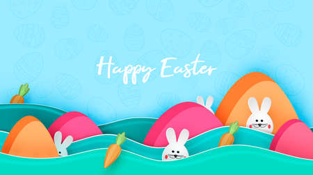 Happy easter day in paper art style with bunny and eggs vector illustration.Easter hunt Иллюстрация