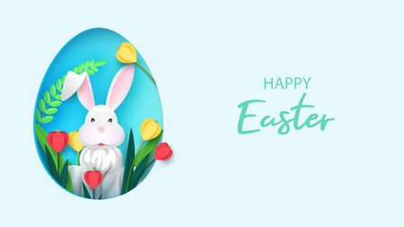 Easter card with paper frame in the shape of an egg with spring flowers on a light background. Vector