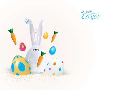 Happy Easter holiday background. Festive design with realistic 3d bunny and chicken decor elements. Spring flowers and eggs. Banner, web poster, flyer cover, stylish brochure, greeting card.Vector Иллюстрация