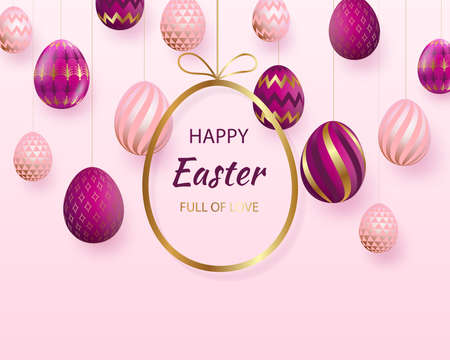 Happy Easter lettering with pink gold realistic looking eggs. Vector. Geometric patterns. Resurrection Sunday greeting card, postcard, invitation, poster, banner template.
