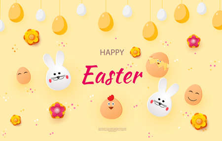 Easter card with rabbit and chickens, spring flowers and flat Easter icons on colorful background.