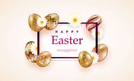 Composition of Easter eggs. Festive background On a light background, white golden Easter eggs with geometric patterns. Template for posters and posters for sale banners,.