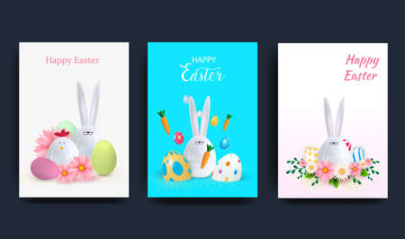 Easter Set of greeting cards, holiday covers, posters, flyers in 3d realistic style with golden egg and ceramic rabbit. Modern minimalist design for social media, sales, advertising, networking. Vector illustration Иллюстрация