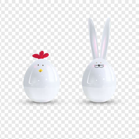 Vector white ceramic Easter bunny and chicken. Decorative realistic object for Easter Day.