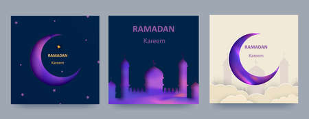 Ramadan Kareem set of posters or invitations with 3d paper cut islamic lanterns, stars and moon on blue and light background. Vector illustration. Ilustracja