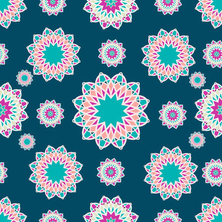 Seamless decorative ornament in ethnic oriental style. Circular pattern in the form of a mandala.Vector illustration Ilustracja
