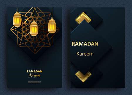 Creative modern design with geometric arabic gold pattern on textured background. Islamic holy holiday Ramadan Kareem. Greeting card or banner. Vector illustration Ilustracja