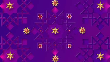 Ramadan Kareem horizontal banner with 3d arabesque stars and flowers. Vector illustration.