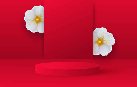 Minimalistic scene with red cylindrical podium and spring flowers. Scene for the demonstration of a cosmetic product, showcase. Vector illustration Иллюстрация