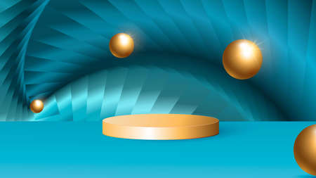 Minimalistic stage with golden cylindrical podium with abstract background and golden balls. Scene for the demonstration of a cosmetic product, showcase. Vector illustration