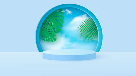 A minimal scene with a light blue cylindrical podium with tropical leaves against the sky. Scene for the demonstration of a cosmetic product, showcase. Vector illustration Иллюстрация