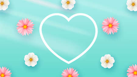 Delicate Spring Flowers Light Background. Heart Shape. Minimalistic Composition Template for poster, holiday cards. Vector illustration.