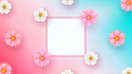 Mother s Day greeting card with square frame and paper cut flowers on colorful background. Vector illustration. Place for your text.