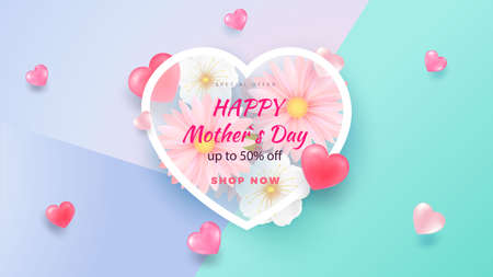 Delicate Spring Flowers Light Background. Heart Shape. Minimalistic Composition Template for poster, holiday cards. Vector i Ilustracja