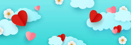 Horizontal banner with paper cut clouds and flying hearts in blue sky,spring flowers, papercut craft. Place for your text. Holiday card, sale concept, voucher typography template.Vector