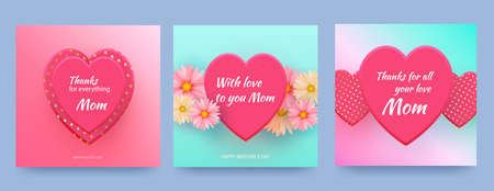 Mother card with pink hearts and spring flowers on gradient pink background. Vector heart shaped love symbols for Happy Mother s Day greeting card design. Vector
