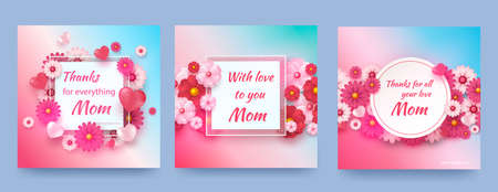 Set of cards with spring flowers and hearts on a gradient background. Vector symbols of love in the shape of a heart for design greeting cards Happy Mother s Day. Vector