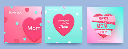 Set of cards for Mother s Day with pink hearts on a gradient background.Vector heart shaped love symbols for Happy Mother s Day greeting card design. Vector Ilustracja