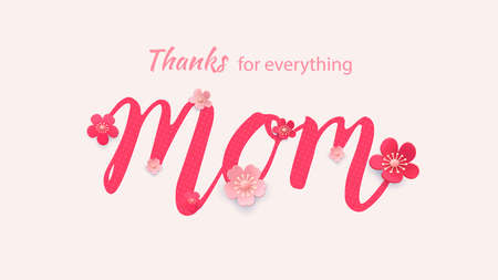 Mother s day greeting card with beautiful blossom flowers Ilustracja