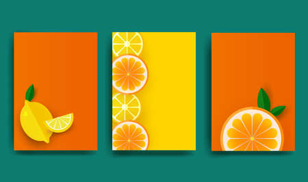 Orange poster. Sliced slices of orange and lemon with leaves. Fruit pattern for brochure, layout design, banner, cover, flyer. Vector