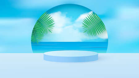 A minimal scene with a light blue cylindrical podium with tropical leaves against the sky. Scene for the demonstration of a cosmetic product, showcase. Vector