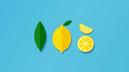 Summer composition of yellow lemon slice on a bright blue background. Minimal concept.Vector Ilustracja