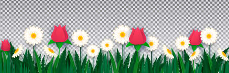 White daisies and roses in the grass on an isolated transparent background. Paper style. Template for banner, poster, presentation. Vector