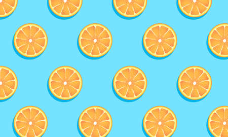 Hello summer. Summer banner with a background of orange slices. You can use it to advertise a sale. Ilustracja