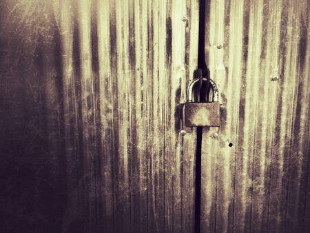 metallic: Metal door with lock in grungy style.