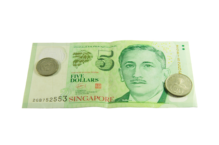 Singapore Dollars on isolated white background.   photo