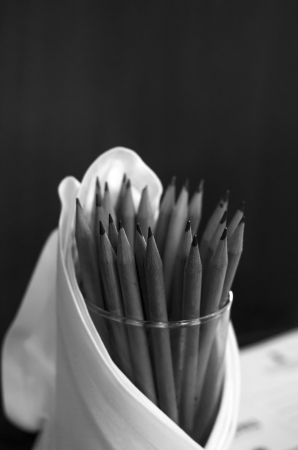 pencil in support with mono tone photo