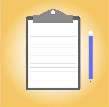 Paper note with clipboard and pencil Vector