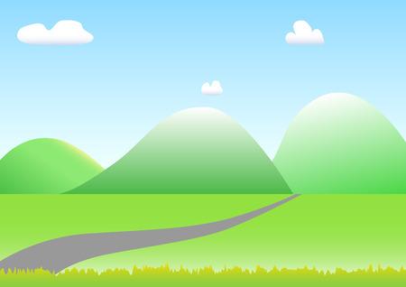speelveld gras: Groene natuur landschap met gras veld wolken hemel en bergen