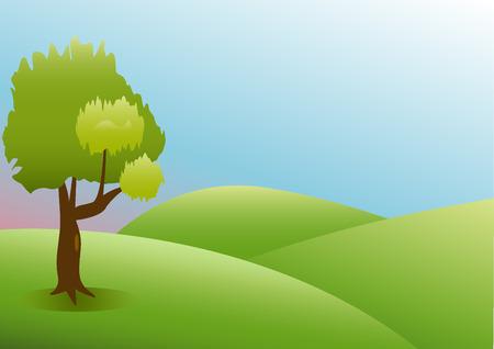 field and sky: Verde, natura, paesaggio con erba cielo campo e le montagne Vettoriali