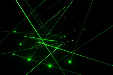Abstract of digital green light laser line Stock Photo