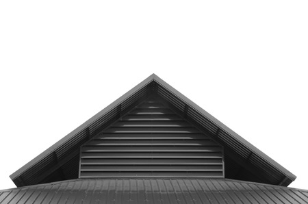 corrugated metal: Roof top triangle from corrugated metal sheet in gray scale