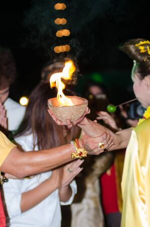 rite: Bangkok,Thailand - January 26 : The rite of zoroastrian sacred by faith and belief of the people with worship at the temple on January 26,2015 in Bangkok, Thailand.