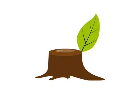 cut off: Stump with a green leaves will be growth after cut off in vector format EPS 10