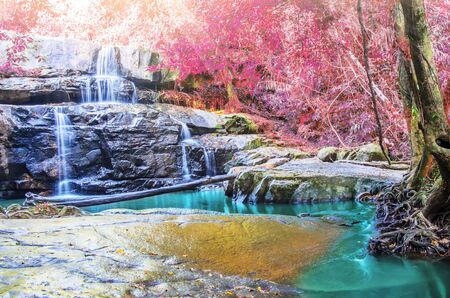 cataract waterfall: Pang Sida beautiful waterfall in tropical forest of national park, Thailand