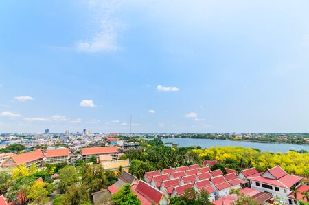 khon: Bird eye view over city of Khon Kaen Province, Thailand Stock Photo