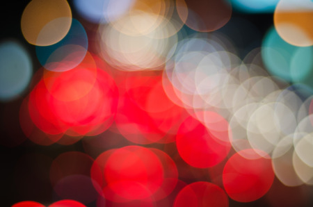 crowded space: Blurred abstract background of night traffic and lights bokeh Stock Photo