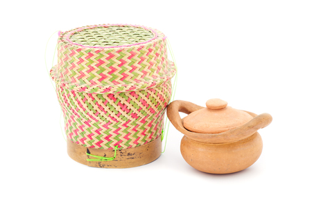Bamboo rice box and samll clay pot thai style isolated on white background