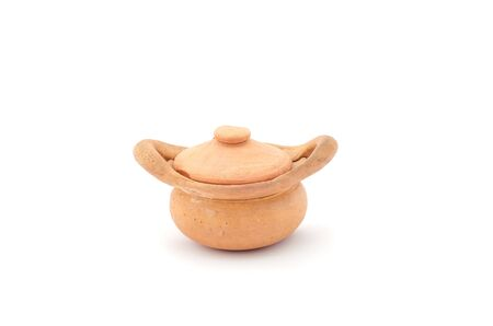 Small clay pot on white background Stock Photo