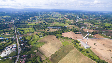 Aerial view of Wind turbine field Chaiyaphum,Thailand